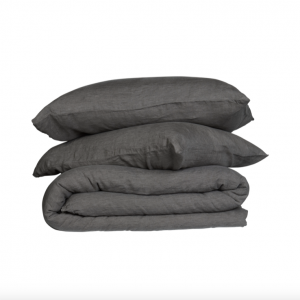 THE COVER COLLECTIVE French Linen Quilt Cover Set – Charcoal (Queen)